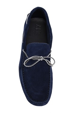 Blue Suede Mocassin with two-tone strip in calf leather