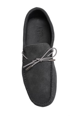 Grey Suede Mocassin with plaited strip in calf leather