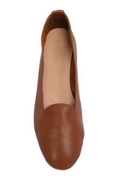 Pantofolina a scarpa color cuoio
