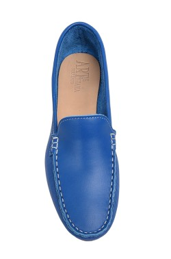 Jeans Coloured Calf Leather Mocassin for Women