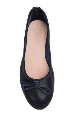 Entirely handmade blue ballerina flat with laces