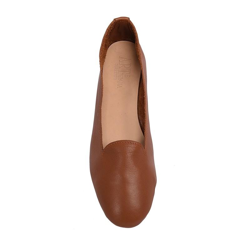 Pantofolina per bambina color cuoio