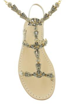 Sandali gioiello con cavigliera modello Valentina platino con pietre nere
