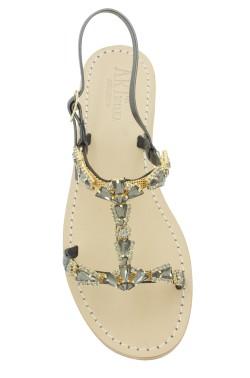 Sandalo gioiello Valentina color nero fumo metallizzato