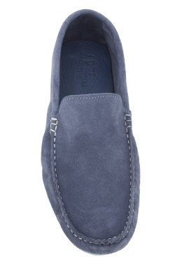 jeans coloured uede  Mocassin in calf leather