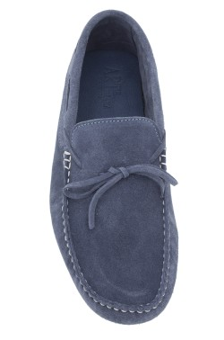 Jeans coloured suede  Mocassin with laces in calf leather