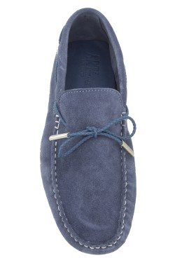Jeans Coloured Suede Mocassin with plaited strip in calf leather
