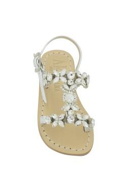 Sandalo Damigella color argento con pietre
