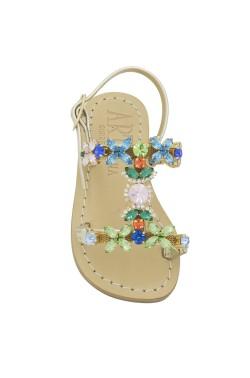 Sandalo Damigella platino con pietre multicolore