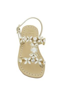Sandalo Damigella platino con pietre cristallo