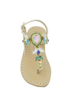 Sandali Principessa color platino con pietre Swarovski