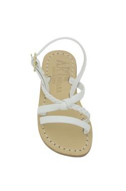 Sandali Marianna colo bianco con fascia intrecciata
