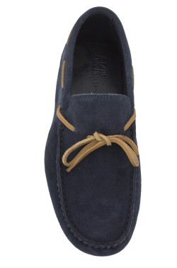 Blue suede  Mocassin with laces in tan calf leather