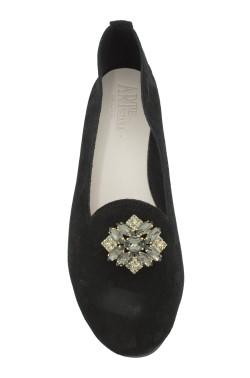 Pantofolina queen donna scamosciata nero