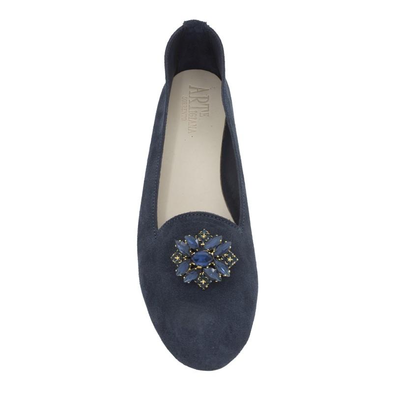Pantofolina queen donna scamosciata blu