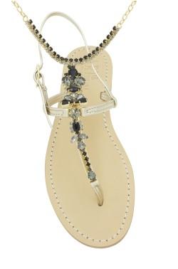 Sandali con cavigliera Venere color platino e pietre Swarovski nere