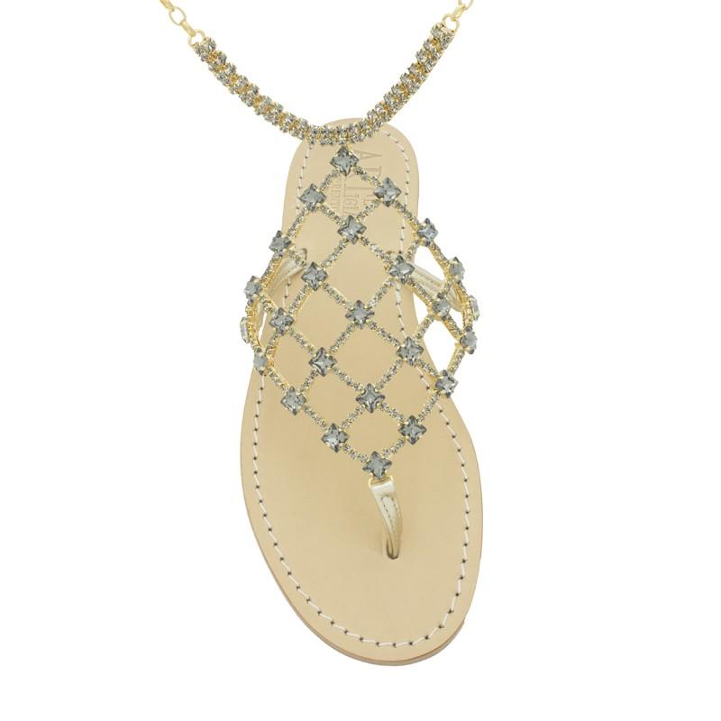 Sandali con cavigliera laura color platino e pietre Swarovski nere