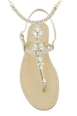 Sandali con cavigliera Venere color platino