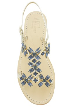 "Platinum coloured Jewel Sandal ""Margherita"""