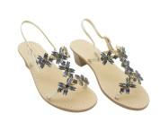 Sandalo gioiello Margherita metallizzato platino