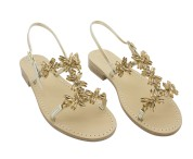 Sandalo gioiello Margherita color platino con pietre ambra