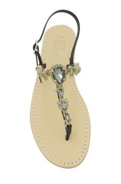 "Black Coloured Jewel Sandal ""Alessia"""