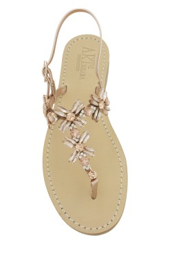 "Gold Rose Coloured Jewel Sandal ""Margherita infrad."""
