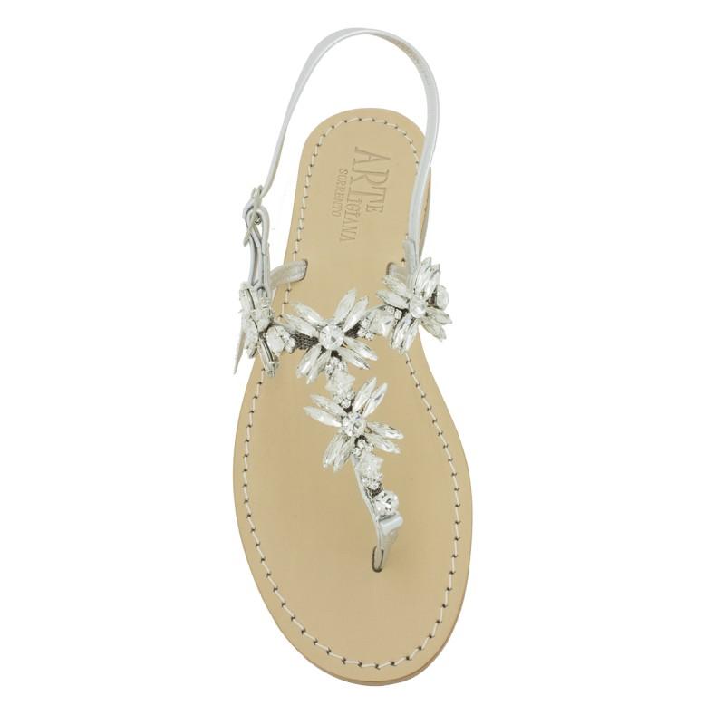 Sandali gioiello Margherita infradito color argento