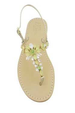 "Platinum Coloured Jewel Sandal ""Loredana""green"