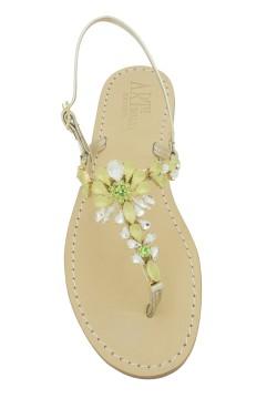 Sandali gioiello Loredana color platino con pietre Vede