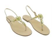 Sandali gioiello Loredana color platino con pietre verdi