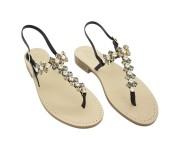 Sandali gioiello cleopatra color nero con pietre color nero fumo