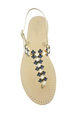 Sandali gioiello Cleopatra color platino con pietre color blu