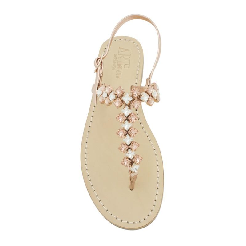 Sandali gioiello Cleopatra color rame con pietre color rame