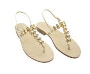 Sandali gioiello cleopatra color platino con pietre color naturale