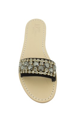 Black Suede Slipper Model Sandal with swarovski cristal light black