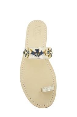 Sandali gioiello Valentina dito a fascia color platino e pietre blu