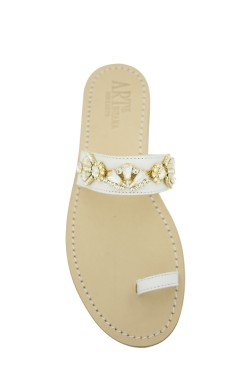 Sandali gioiello Valentina dito a fascia color bianco e pietre cristallo