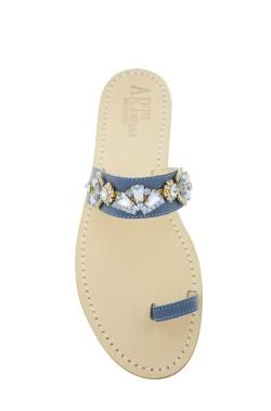 Sandali gioiello Valentina dito a fascia color jeans e pietre jeans