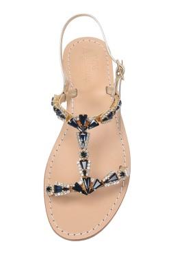 "Platinum Coloured Jewel Sandal ""Valentina"""