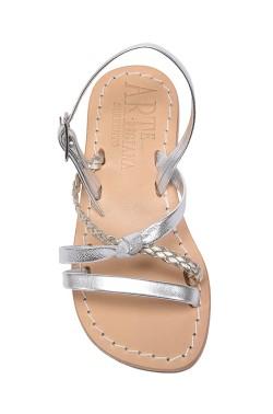 Sandali Marianna color argento con treccia in pelle
