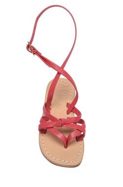 Sandali Angela color corallo con cinturino a caviglia