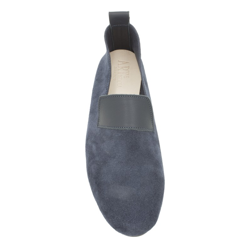 "Moccasin ""King"" suede calf leather blue"