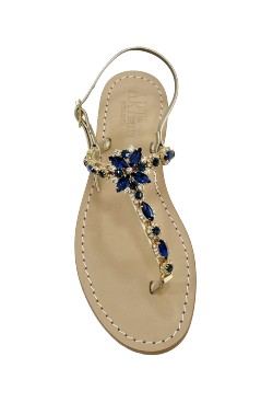 Sandali gioiello sole color platino pietre blu