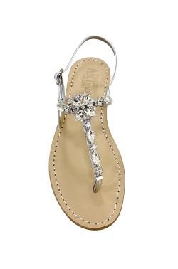 Sandali gioiello Sole color argento con pietre cristallo