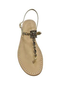 Sandali gioiello sole color platino con pietre color nero fumo