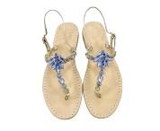 Sandali gioiello Valentina color platino con pietre jeans