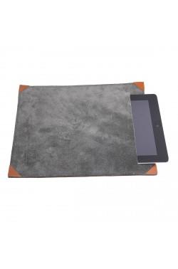 Porta-tablet in pelle scamosciata color grigio