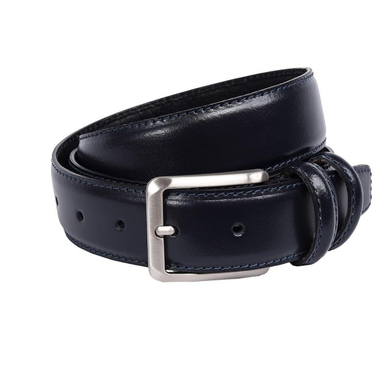 Cintura in pelle di vitello color blu