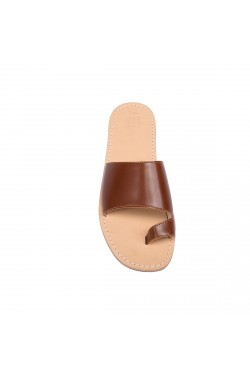 Sandalo a fascia infradito color cuoio